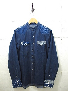 NEEDLES-BANDED COLLAR COWBOY SHIRT - INDIGO COMBO